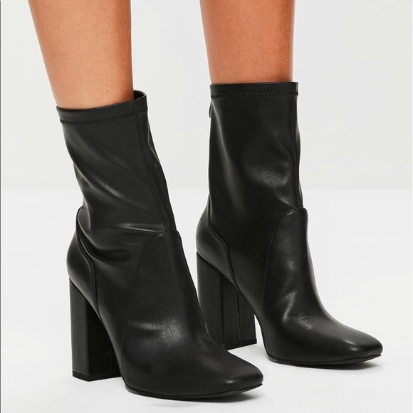 877211adf1a8 Missguided Black Faux Leather Ankle Sock Boot. M 5b7df8d8194dadf949847ffa